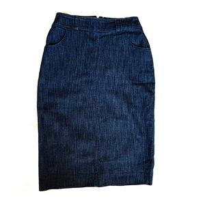 Stretchy denim look pencil skirt